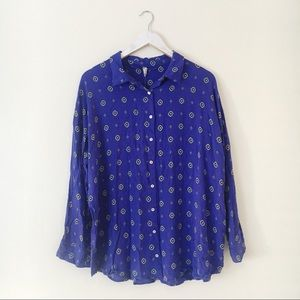 Free People Shirt Up Top Oversized Blouse Blue S